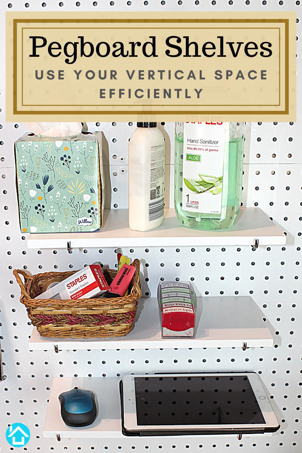 Office Supplies on pegboard Shelves