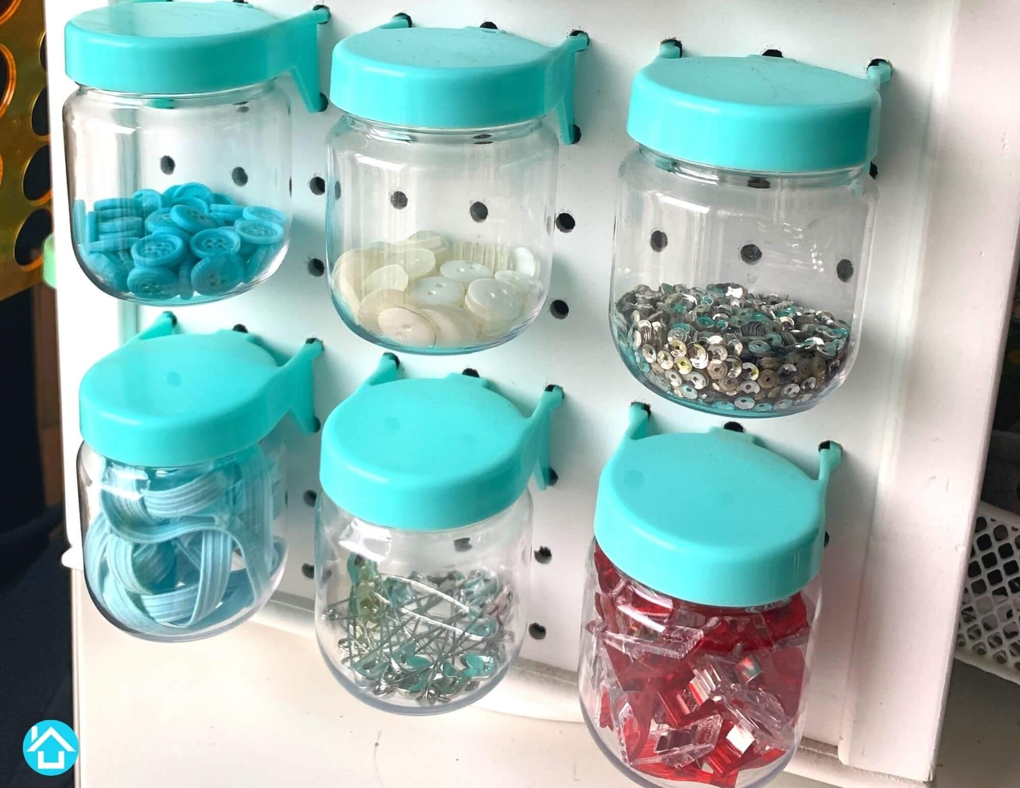 Blue Pegboard Jars