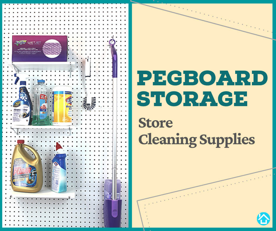 Pegboard Shelf for Cleaning Supplies