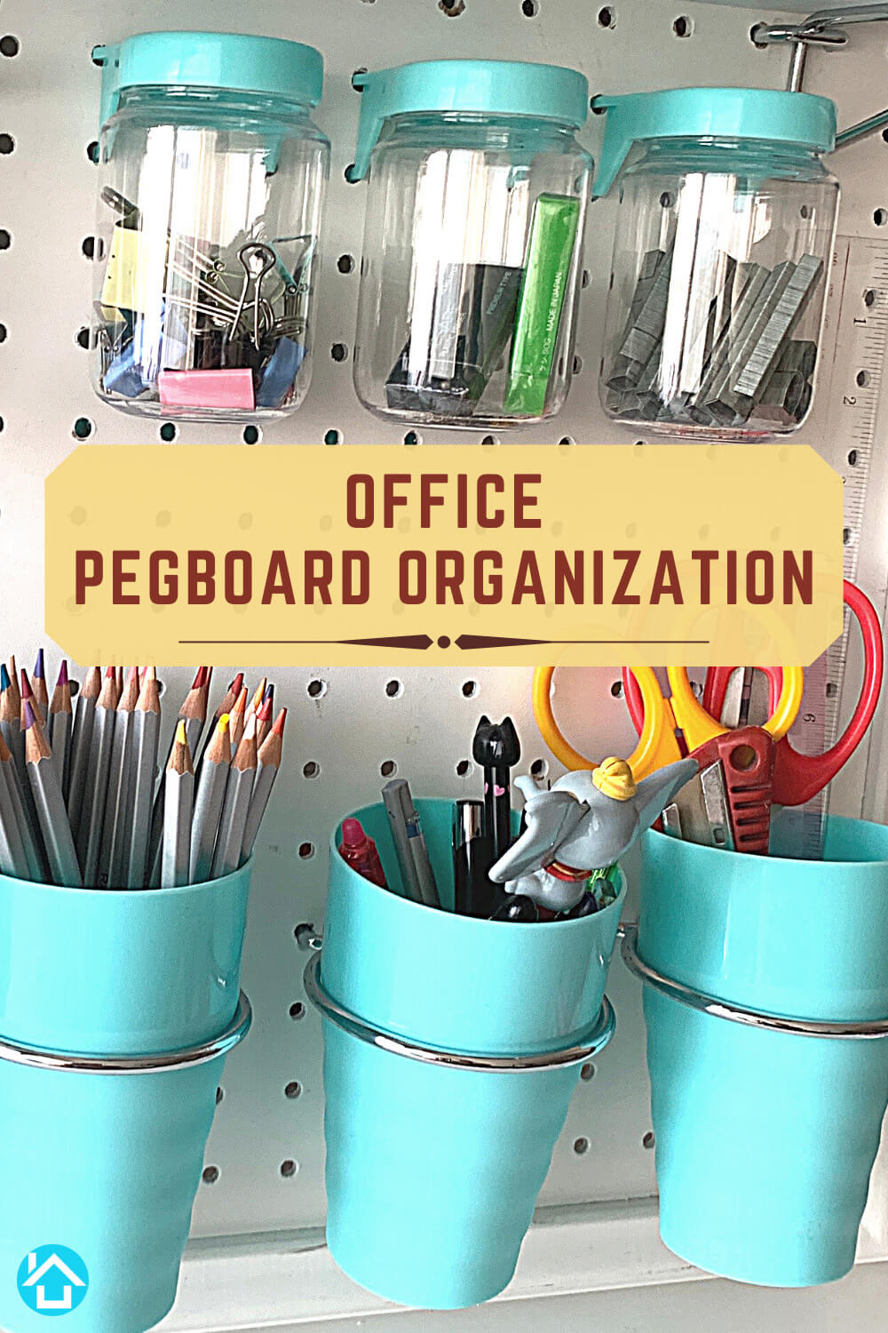 Office pegboard Ideas with Jars and Cups