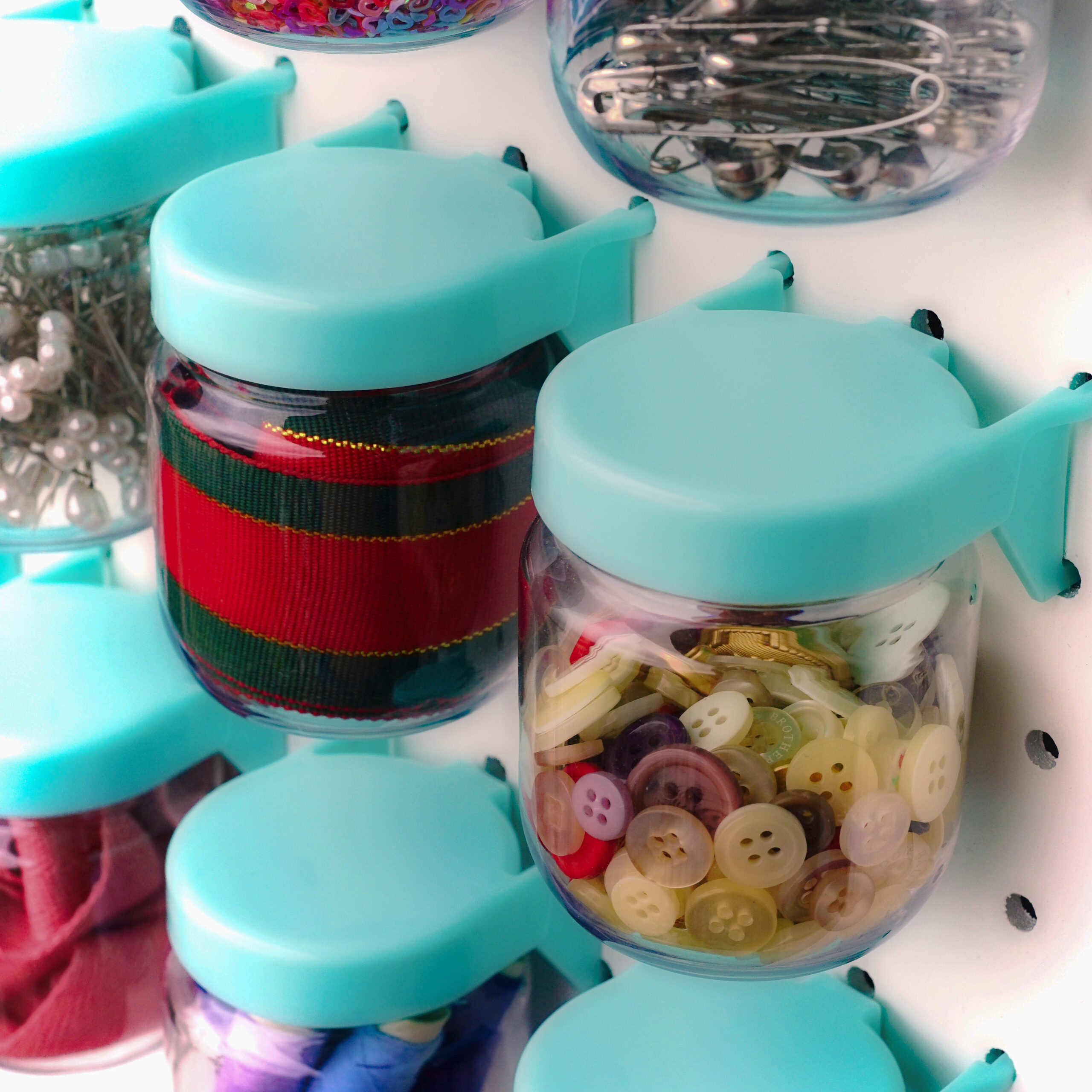 Pegboard Jars (Blue) - Set of 12