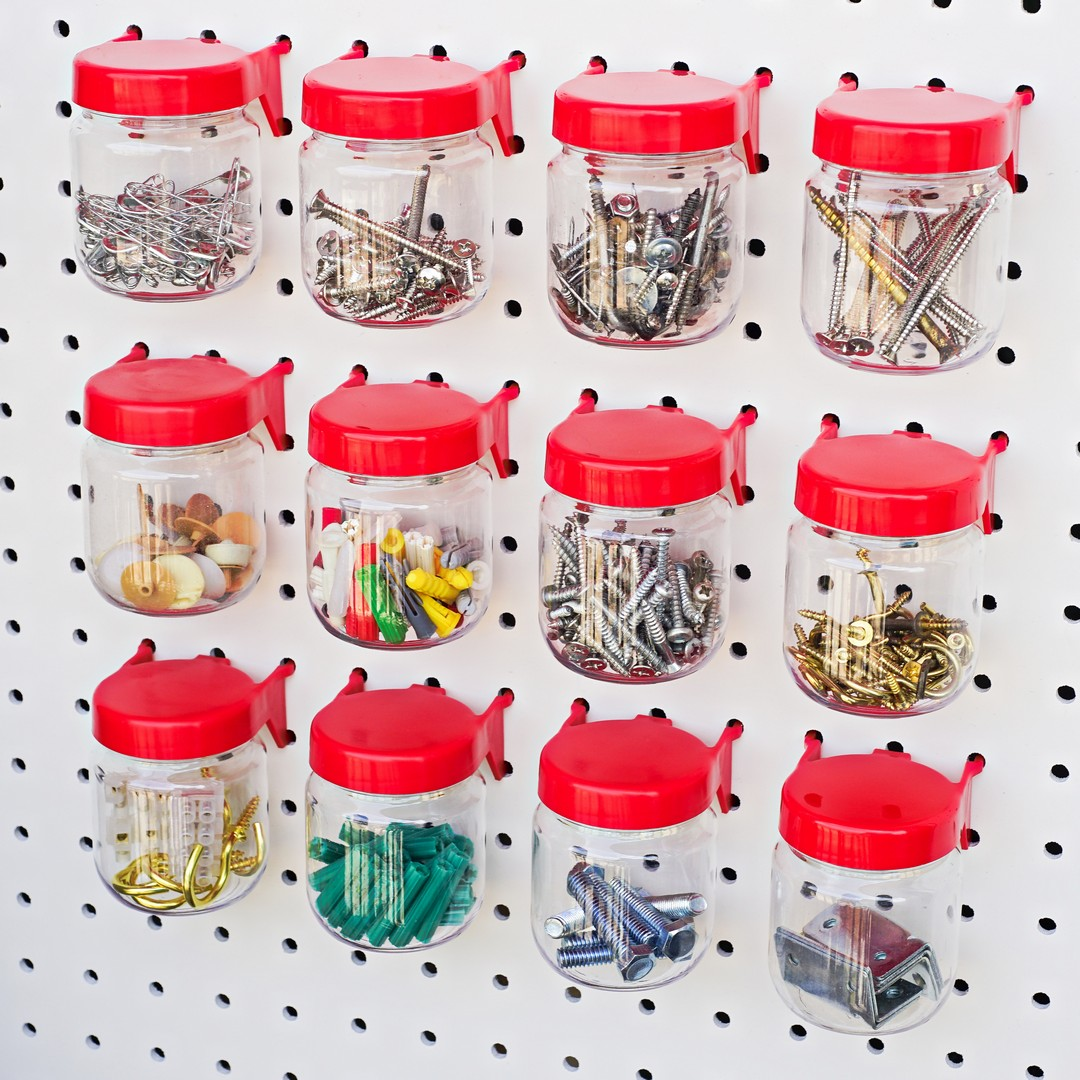 Pegboard Jars Red