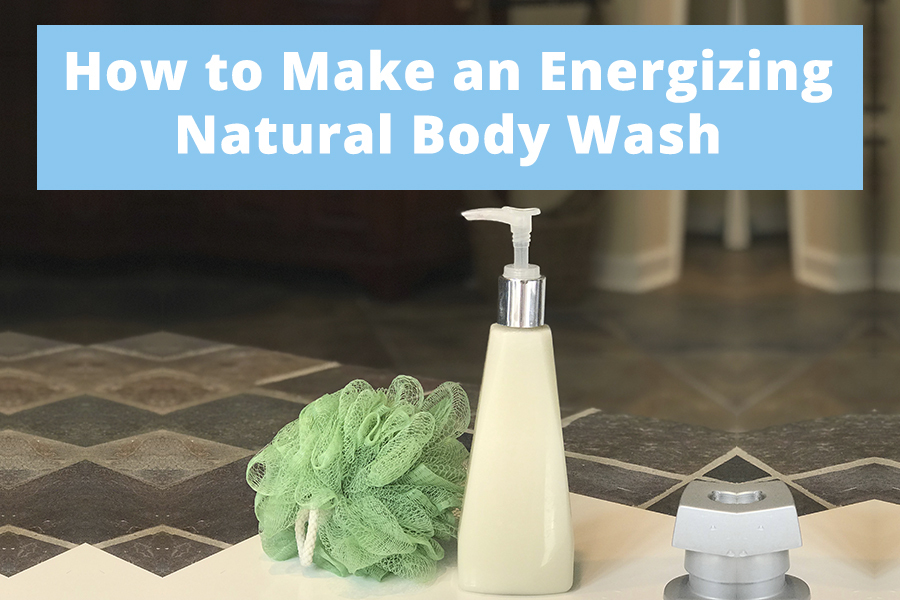 Learn how to make this DIY Natural Body Wash. It is the perfect body wash for sensitive skin, plus the energizing scents of peppermint and eucalyptus!