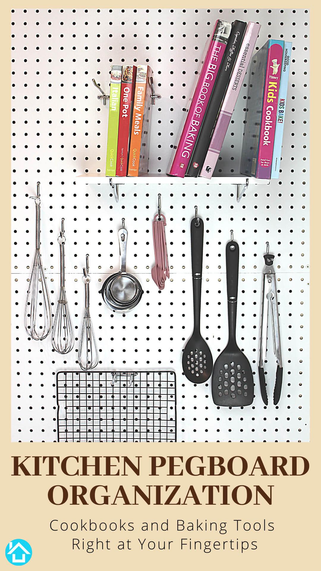 Pegboard Shelf for Cookbooks