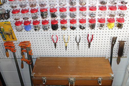 Pegboard Hooks and Jars