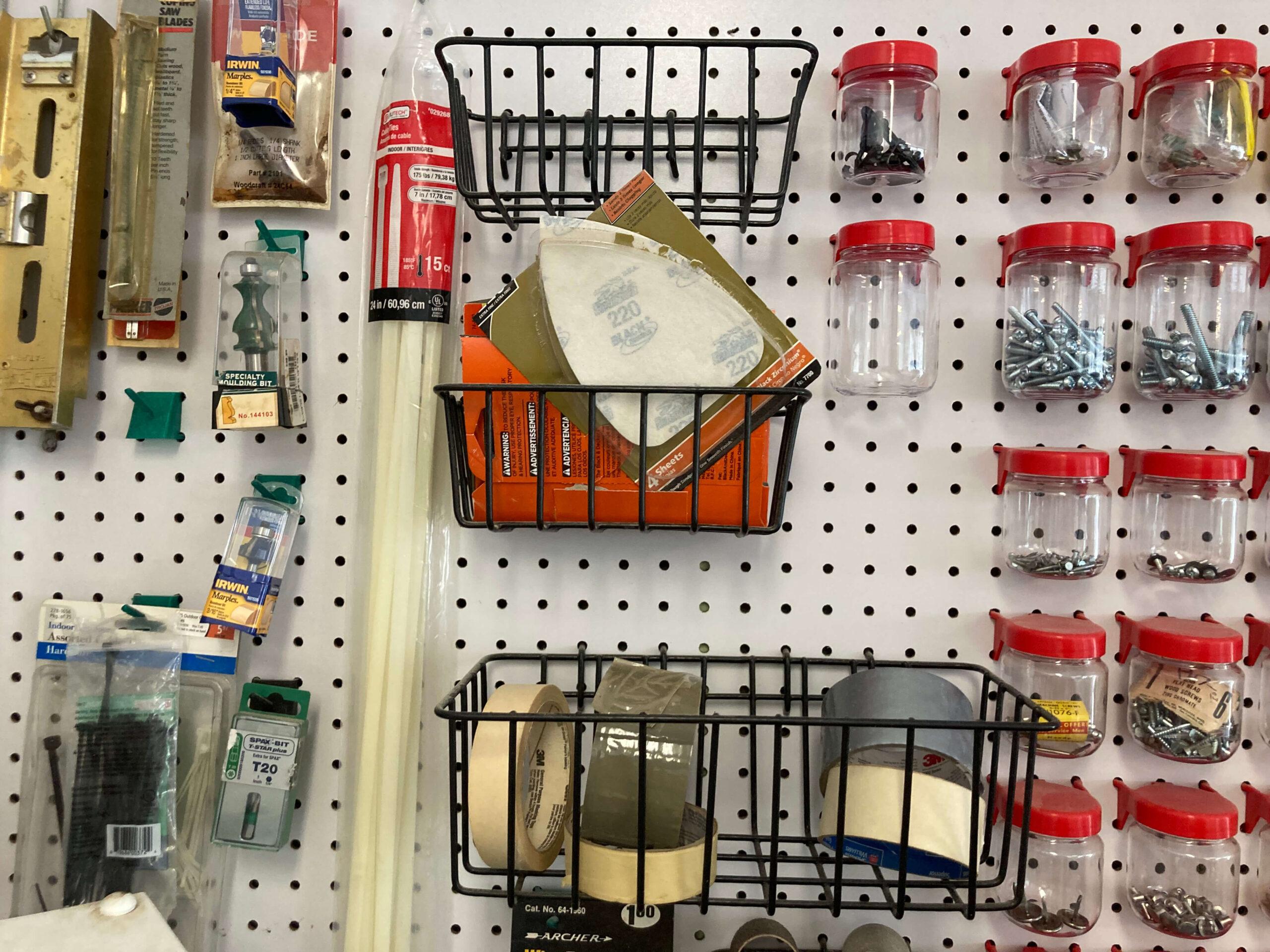 Tape in Pegboard Baskets