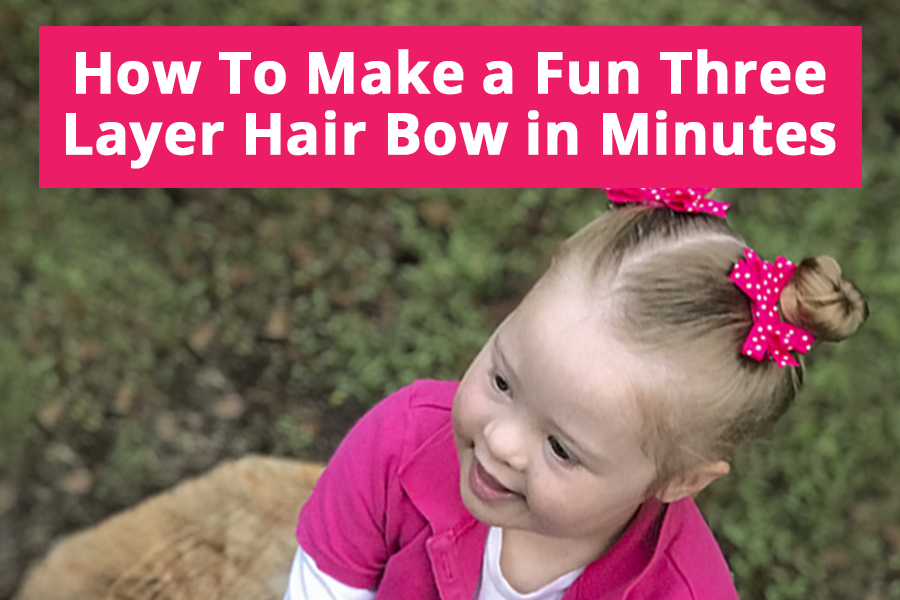 Learn how to make a small 3 layer hair bow for girls. A great bow to make two of because it looks adorable in pigtails!